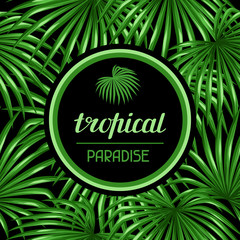 Paradise card with palms leaves. Design for advertising booklets, banners, greeting cards and flayers