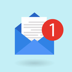 Email message concept. New, incoming message