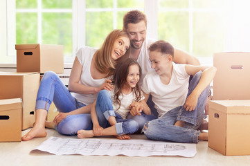 happy family in new home