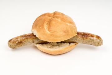german grilled  sausage bun Bratwurst