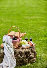 Autocollant pour porte Pique-nique Celebrating outdoors in a park with red wine
