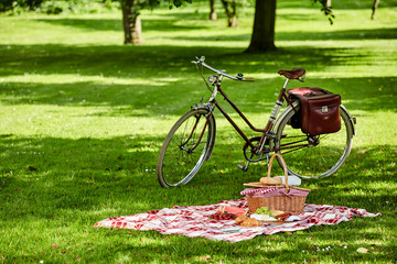 Foto op Canvas Picknick Bicycle and picnic spread in a lush green park
