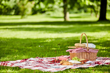 Zelfklevend Fotobehang Picknick Delicious picnic spread with fresh food