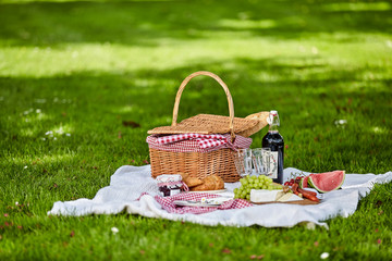 Foto op Canvas Picknick Healthy outdoor summer or spring picnic