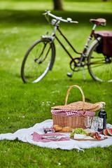 Aluminium Prints Picnic Picnic hamper and food with a bicycle