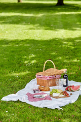 Aluminium Prints Picnic Wicker picnic hamper outdoors in a spring park