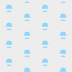 Vector seamless Mustache and hat pattern on the grey background. Suitable for fabrics, textile print, wrapping paper, web background and other.