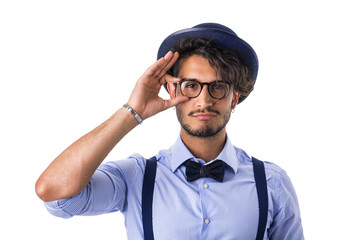 Stylish hipster with glasses, hat and bow-tie
