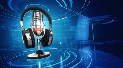 Webinar, Online Education and Training concept - Microphone and headphones on blue tecnology background. 3d render