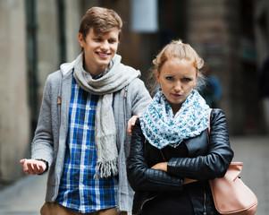 Public harassment: man chasing  irritated girl