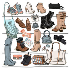 Hand drawn vector Illustration of woman fashion accessories. Side view of shoes and bags on shelf. Fall and winter shoes, boots, bags set. Fashion collection sketch.