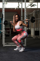 Young Woman Doing Exercise With Barbell Squat