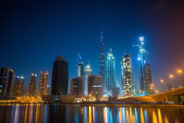 UAE Dubai night city skyline from Business Bay