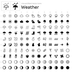 Line and Black Vector Icons - Weather