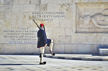 greek evzones - greek tsolias - guarding the presidential mansion in front of the tomb of the unknown soldier - army infantry