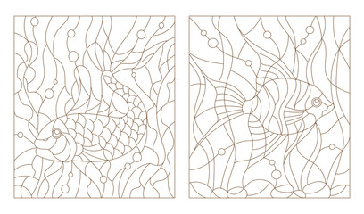 Set contour illustrations of stained glass with aquarium fish, the goldfish and scalars
