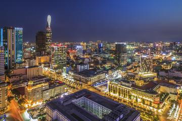 SAIGON, VIETNAM - APRIL 08, 2016 - Impression landscape of Ho Chi Minh city at night ,