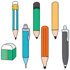 vector set of pencil and eraser
