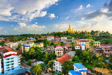 Wall Mural - Yangon, Myanmar City Skyline
