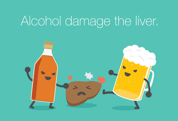 Liquor bottles and beer attack the liver. This illustration meaning to drinking alcohol inflict severe damage to the liver.