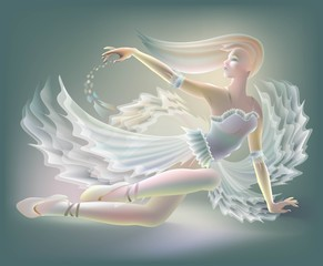 Illustration of beautiful ballerina sitting on the ground, vector cartoon image.