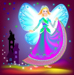 Illustration of beautiful fairy dreaming in the nighttime, vector cartoon image.