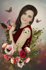 Portrait of a young girl with a smile, with long hair in roses and surrounded by butterflies.