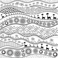 African hand-drawn ethno pattern, tribal background. Pattern can be used for wallpaper, web page background, others. Bright vector tribal texture.