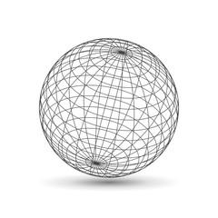 Wireframe globe icon, 3d version