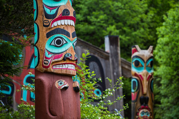 Totem Poles Near Saxman Tribal House