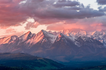 Beautiful spring panorama over Spisz highland to snowy Tatra mountains in the morning, Poland