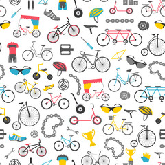 Bicycle seamless pattern. Colour flat design. Vector illustratio