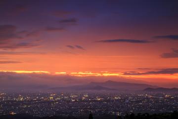 Sunset at Bandung, West Java, Indonesia.