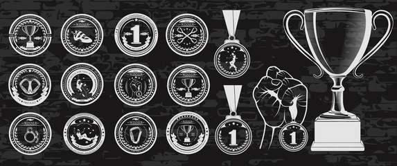 Vector set of logos medals for winners, Champions and finalists