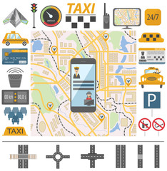 Taxi infographic template. Flat design