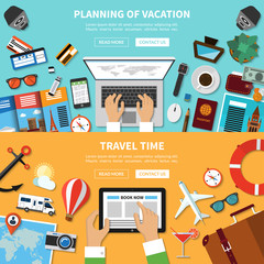 Planning of vacation. Travel time. Vector concept banners