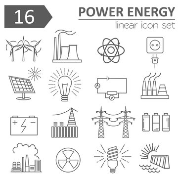 Power energy icon set. Thin line design
