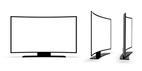 Modern TV on a white background. 3d rendering.