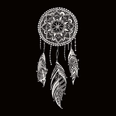 Hand-drawn dreamcatcher with feathers. Ethnic illustration, tribal