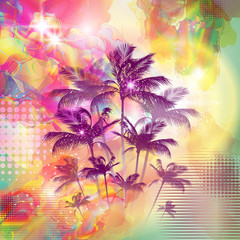 Wall Mural - Exotic tropical palm trees with fantasy sunset background
