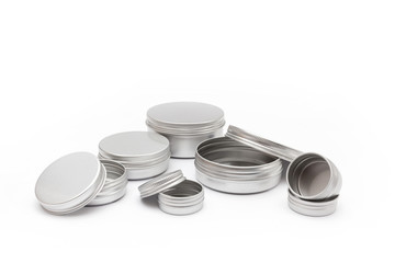 silver metal containers for cosmetics