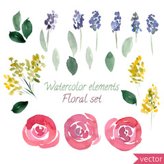 set of watercolor roses flowers and leaf. Vector collection with leaves and flowers, hand drawing. Can be used for design for invitation, wedding or greeting cards