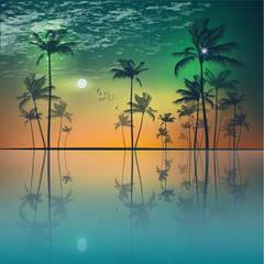 Wall Mural - Island of tropical palm trees  at sunset or moonlight, with clou