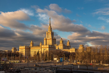Moscow State University main building and cloudy blue sky
