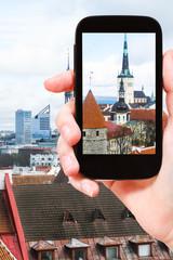 tourist photographs cathedrals in Tallinn city