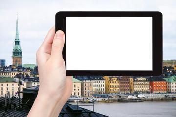 tourist photographs Gamla stan in Stockholm