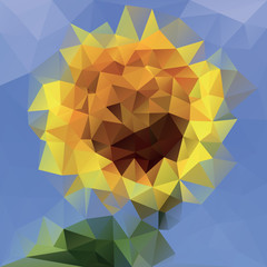 Abstraction from triangles, sunflower, geometric flower, vector design