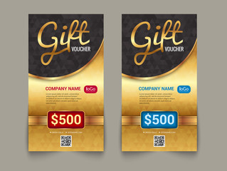 Gift voucher market template with golden tag market design. Special offer golden certificate coupon design template