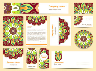 Stationery template design with mandalas.