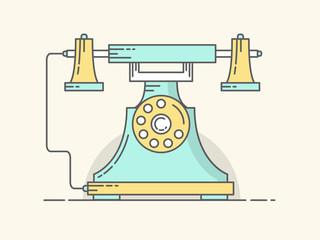 Modern Line Art Vector Illustration of Vintage Telephone. Flat Design Style.